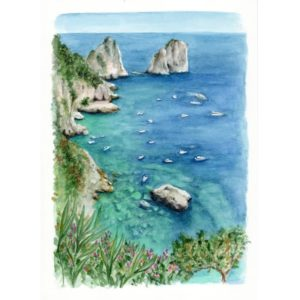 Acquerello dei Faraglioni di Capri