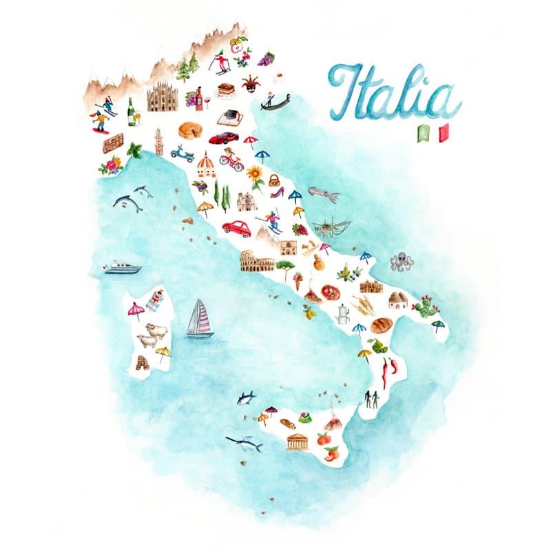 Acquerello originale dell'Italia