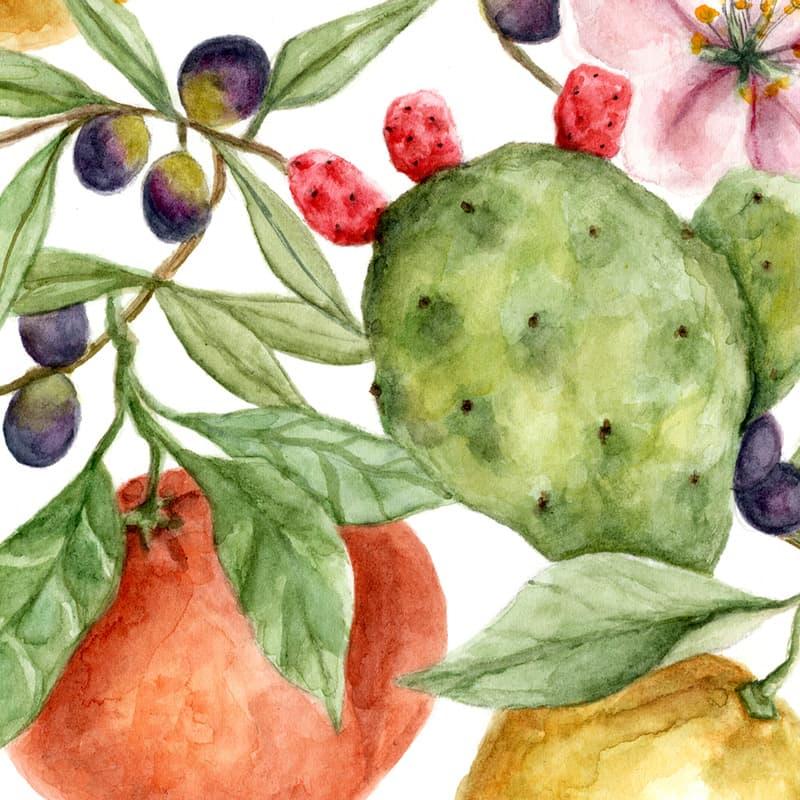 Acquerello Originale vegetazione Sud Italia