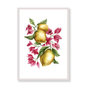 Lemons and bouganville is a fine art print perfect to decor your home, office or studio. It is printed in Italy with the highest quality materials
