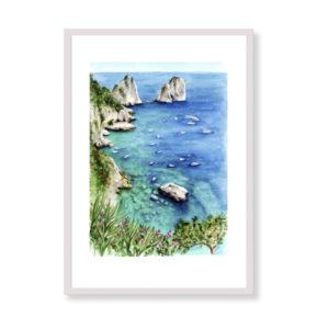 Capri View è una stampa artistica per decorare le pareti di casa o del tuo ufficio. E' una stampa in acquerello realizzata in Italia