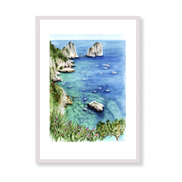 Capri View is a fine art print perfect to decor your home, office or studio. It is printed in Italy with the highest quality materials