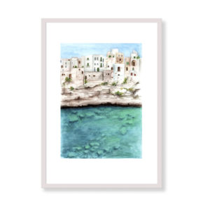 Here's a unique art print of the beautiful Polignano. This small town in Puglia rises on a rocky spur in front of the Adriatic Sea. It is the perfect solution for your home if you are a real Italy lover! This item is the printed version of the original watercolor Polignano.
