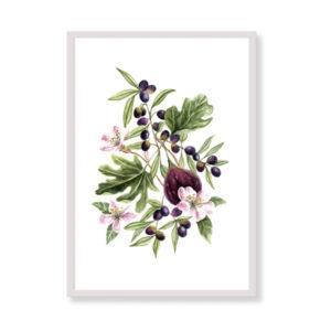 Figs and olives è una stampa artistica per decorare le pareti di casa o del tuo ufficio. E' una stampa in acquerello realizzata in Italia