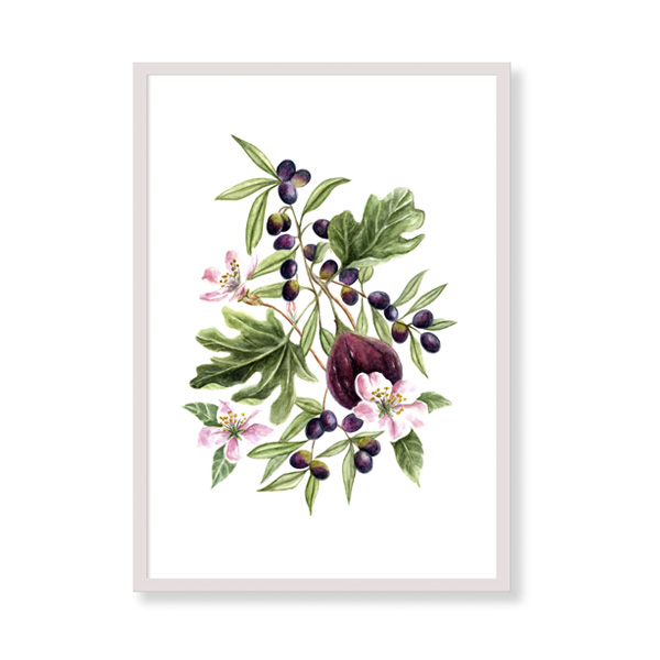 Figs and olives is a fine art print perfect to decor your home, office or studio. It is printed in Italy with the highest quality materials