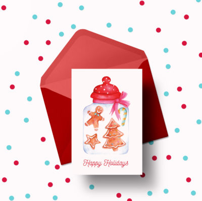 Cookies is a a colorful card to wish friends and family a joyful Christmas