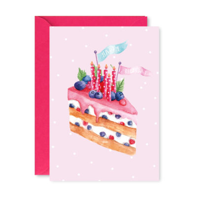 Greeting card creamy - Make special wishes for a birthday! Choose one of our wild berries cake greeting cards to spread love for a special occasion!
