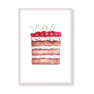 The perfect art print for your kitchen! Cherry Cake will be beautiful in your home, it is colorful and tasty!
