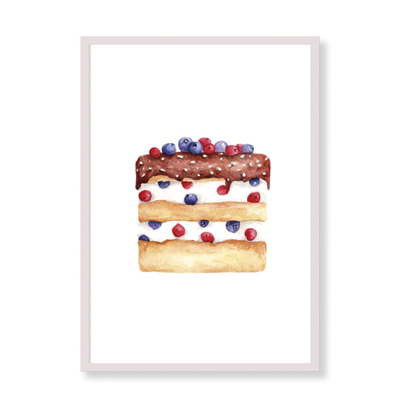 The perfect art print for your kitchen! Wild Berries Cake will be beautiful in your home, it is colorful and tasty!