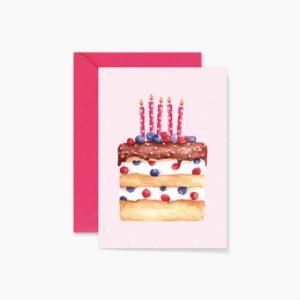 Happy Birthday Cake Card - Wild Berries Cake